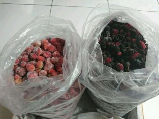 Buah strawberry, blackberry frozen untuk juice